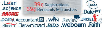 15 TLDs are 39 cents to register, and 69 cents to renew or transfer