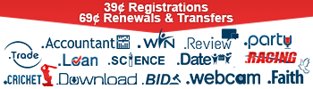 14 TLDs are 39 cents to register, and 69 cents to renew or transfer