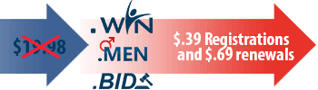 .BID, .MEN, and .WIN: Register for 39 cents, renew for 69 cents