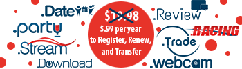 8 TLDs: Register, renew, or transfer for 99 cents